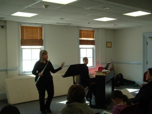 Talking about the Handel Flute Sonatas in The Dancing Flute Presentation at the Flint Memorial LIbrary Childrens Concert